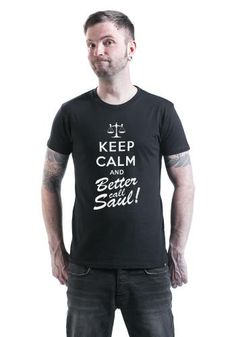 """Classica T-Shirt uomo nera """"Keep Calm and Better Call Saul!"""" della serie televisiva #BetterCallSaul, spin off di Breaking Bad, con ampia stampa frontale."""