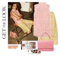 """yellow and pink and lace..."" by gabrielleleroy ❤ liked on Polyvore featuring Miu Miu, Berkshire, PopsOfYellow and NYFWYellow"