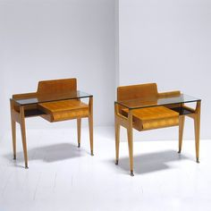 Maple and Glass Bedside Tables manufactured by Dassi, 1950s.