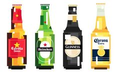 Heineken Future Bottle Remix - Revamping the image of the iconic beer brand, the Heineken Future Bottle 'Remix' Challenge rebrands the brewery's quality product. Pixel Art, Flat Illustration, Food Illustrations, Guinness, Corona Logo, Alcohol Bottles, Beer Bottles, Beer Art, Beer Brands