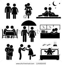 Lover Couple Boyfriend Girlfriend Sweetheart Relationship Activity Stick Figure Pictogram Icon by Leremy, via ShutterStock