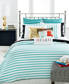 CLOSEOUT! kate spade new york Harbour Stripe Turquoise Comforter and Duvet Cover Sets - Bedding Collections - Bed & Bath - Macy's