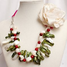 """It's almost time to start picking strawberries. This Statement Necklace with Shell and Coral from hART Sense Design surely looks like a field of strawberries. CLOSEOUT - one of a kind """"Strawberry Fields Forever Necklace"""" - www.hartsd.com"""