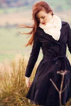 black fitted trench coat | twirly mac coat
