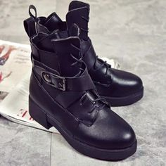 Black Punk Style Platform Martin Boots Lace Up Buckle Strap Cool Motorcycle Ankle Boots Woman Sexy Knight