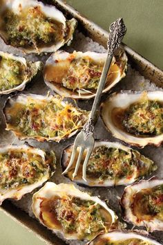 Here is delicious easy way to prepare baked oysters. Open oysters and place them on a rock salt coated baking sheet. Chop bacon into a dice, then fry until slightly crispy. To assemble, top each oyster with some of the cheese, then bacon and scallions. Place in a 350 degree oven and bake until cheese […]
