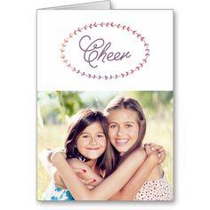 Simple Cheer Laurel Christmas Photo Greeting Card by Orabella Prints. #laurel #wreath #watercolor #purple #modern #elegant #holiday #christmas #newyear