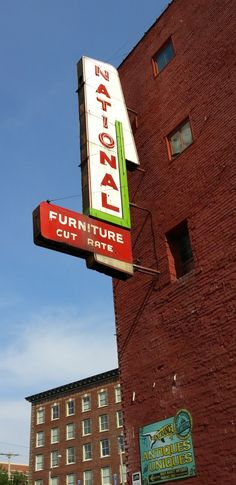 ghost sign for National Furniture (Cut Rate)