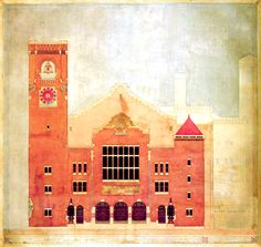 Berlage's drawing for the elevation of the new Stock Exchange, Amsterdam