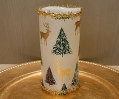 Christmas LED Pillar Candle With Christmas Trees And Gold Reindeer by DontForgetTheFlowers on Etsy Flickering Lights, Flameless Candles, Pillar Candles, Reindeer Decorations, Christmas Tree Decorations, Christmas Trees, Wrapping Paper Bows, Gift Wrapping, Christmas Candles