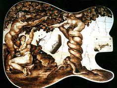 Handmade Pyrography Burned Into An Ash Custom ESP Telecaster Guitar Body