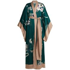Carine Gilson Floral-print silk-satin kimono robe ($2,198) ❤ liked on Polyvore featuring intimates, robes, green print, floral kimono robe, floral robe, green kimono, lightweight robe and floral dressing gown