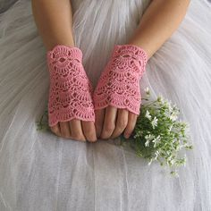 BUTTERFLY Crochet Fingerless Lace Bridal Gloves in rose pink