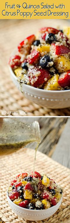 Fruit & Quinoa Salad with Citrus Poppy Seed Dressing - Krafted Koch. I am in love with Quinoa now! Quinoa Fruit Salad, Quinoa Salat, Vegetarian Recipes, Healthy Recipes, Vegetarian Salad, Salad Recipes, Whole Food Recipes, Cooking Recipes, Healthy Snacks