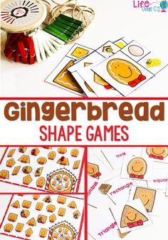 Free Printable Gingerbread Shapes Activities - Life Over Cs Christmas Math, Christmas Activities For Kids, Preschool Christmas, Preschool Winter, Winter Activities, Christmas Stuff, Christmas Crafts, Xmas, Shape Games For Kids
