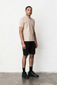 Berkhan blackmodel Ivory pk polo shirt and black shorts and nike black airforce low 1 shoes