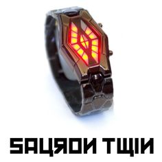 Sauron Twin - Futuristic LED Watch - Dark Metal with Bicolor Red/Blue LEDs