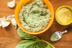 VEGAN PESTO The nutritional yeast in this rich, vibrant green pesto lends a flavor similar to that of parmesan cheese in traditional pesto. Serve over pasta, whole grains, or steamed or grilled veggies. Vegan Blog, Vegan Life, Vegan Sauces, Vegan Dishes, Whole Foods Market, Vegan Fast Food Options, Healthy Alternatives, Pesto Vegan, Butter