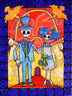 Day of the Dead Art Print  Calavera Wedding Couple  by BonesNelson, $12.50