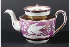 Rare 'JOHN  SHORTHOSE'  pink LUSTRE TEAPOT AND COVER, circa 1810-20, decorated with birds and foliage,7.75 ins. wide, sold in U.K. £260   2018.