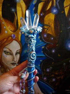 ♥♥♥ ༺❣༻ Blue Faerie Seelie Court Wand. Beautiful polymer clay and crystal wand by Unseelienchantments. ༺❣༻