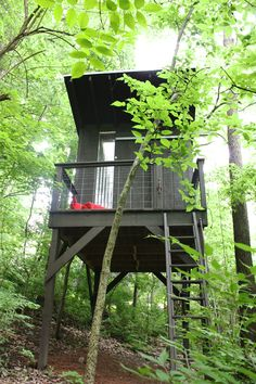 The platform for this modern treehouse is 8 x 12 and the house is 8 x 8 feet – to minimize waste by using standard, big box lumber lengths |DIY modern treehouse: frugal | Tiny Homes