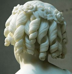 Eternal...Beautiful flowers and curls on the Roma Lyman marble sculpture by William H. Rinehart.(1825 – 1874), Corcoran Gallery, Washington, DC.