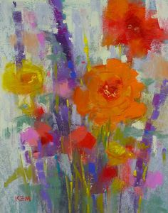 Flower Bouquet Original Pastel Painting 8x10  by Karen Margulis psa
