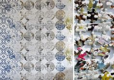 #SpringSummer2013 #SS13 #Repair #Trend #Textiles #Report by #TheTrendBoutique #SpringSummer2013 Left: Wall Decoration by Lene Toni Kjeld.  Right: Jigsaw Wallpaper by Tracy Kendall