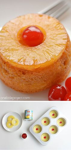 These mini pineapple upside down cakes are so pretty and they're REALLY SIMPLE to make! This is such an easy dessert recipe that is simple enough to make at the last minute on a weeknight but beautiful (and DELICIOUS!) enough to serve to guests! Easy Desserts, Delicious Desserts, Dessert Recipes, Yummy Food, Mini Cake Recipes, Mini Desserts, Mini Cakes, Cupcake Cakes, Best Nutrition Food