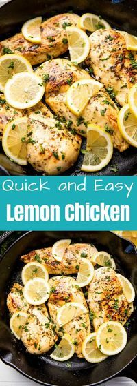 This Quick and Easy Lemon Chicken Recipe requires only a handful of pantry ingredients, but don't let the simplicity fool you. It's also outrageously delicious! chicken recipe Quick and Easy Lemon Chicken Easy Lemon Chicken Recipe, Easy Chicken Recipes, Turkey Recipes, Dinner Recipes, Lemon Chicke Recipe, Entree Recipes, Keto Chicken, Meat Recipes, Dinner Ideas