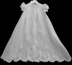 "Beautiful White Alfred Leon Organdy Baby Dress Gown 26"" Long Christening"
