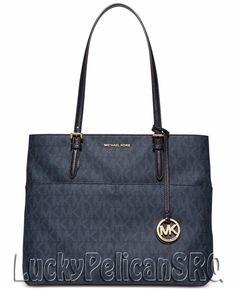 Michael Kors Bedford MK Signature PVC Large Pocket Tote Bag Baltic Blue NWT #MichaelKors #TotesShoppers