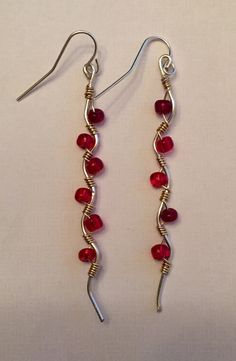 Two-Tone Wire Wrapped Earrings Beaded Red