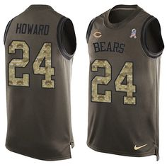 $24.99 Men's Nike Chicago Bears #24 Jordan Howard Limited Green Salute to Service Tank Top NFL Jersey