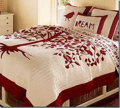 Quilt by pottery barn, circa Apparently this Wish Tree Quilt takes its graphic simplicity from the traditional folk craft of paper cutting. Pottery Barn, Family Tree Quilt, Christmas Bedding, Two Color Quilts, Red And White Quilts, Applique Quilts, Quilt Making, Bed Spreads, Pillows