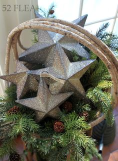 Basket of greenery and stars