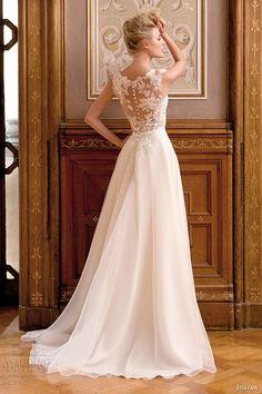 jillian 2015 wedding dress sleeveless bateau sheer neckline lace bodice a line bridal gown back view | top 30 most popular wedding dresses on wedding inspirasi in 2014 http://www.jexshop.com/