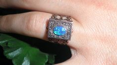 Blue Opal Locket Ring by Steampunkitis on Etsy