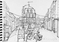 Niort, la rue de l'Arsenal et la rue Sainte-Marthe depuis le café de la place du Temple