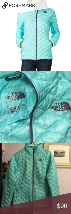 North Face Thermoball Mint Jacket In good used condition. Mint colored. The North Face Jackets & Coats Puffers