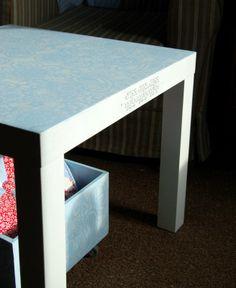 Riona: Szablonowa seria - stolik, stołek i skrzynka na kółkach:) Stencil table