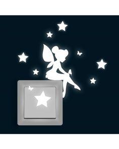Lichtschaltertattoo Wandtattoo Fee Elfe Tinka mit Schmetterling und Sternen…