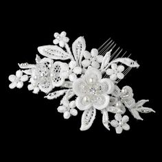 Diamond White Pearl Embroidered Floral Lace Bridal Hair Comb