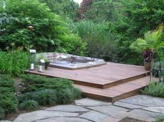 hot tubs inground | Hot Tub, Hot Tub with Bar, Outdoor Living, Lush Planting