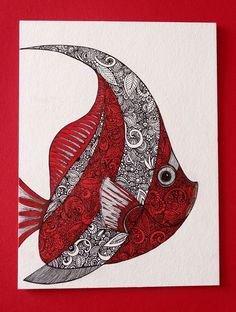 рыба, fish,зентангл, дудлинг, doodling, zentangl Fish Zentangle, Symbols, Letters, Cards, Icons, Letter, Map, Fonts, Glyphs
