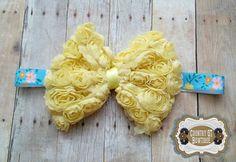 Shabby Chic Yellow Rosette Bow Headband by CountryQTBowtique