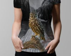 T-shirt hibou - Vapor Ladies col v tous sur tee