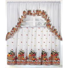 Brighten the look of your kitchen with the RT Designers Collection Ruffle Fruit Basket Kitchen Curtain Tier and Valance Set . This curtain and valance. Kitchen Curtains And Valances, Small Window Curtains, Cafe Curtains, Drapes Curtains, Luxury Curtains, Curtains Living, Kitchen Curtain Designs, Kitchen Curtain Sets, Valance Window Treatments