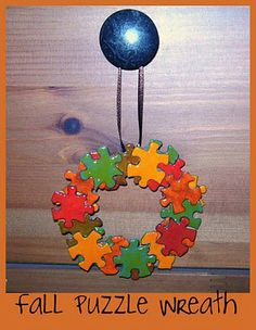 Reusing puzzles for wreaths! Could do this in lots of colors